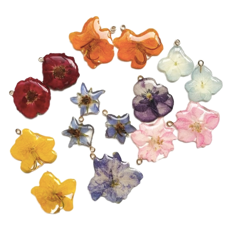 1PC Natural Dried Flower Charm Resin Covered Real Blooming Flower Pendants Charms For Jewelry Making Women Earrings