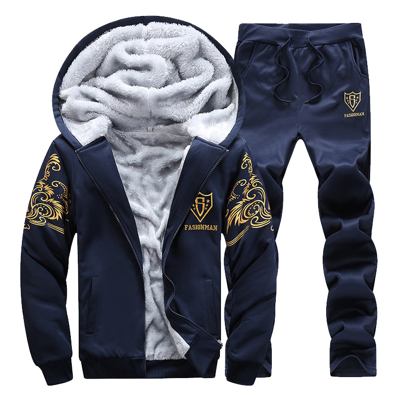 Winter Plus Thick Velvet Sports Sweater Suit Men 's Hooded Cardigan  2 Piece Sets Men 's Casual Loose Large Size Sportswear
