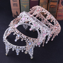 Princess Crown Baroque Round Wedding Tiara Bridal Headbands Bride Jewelry Decoration for Hair Bridal Accessories Ornaments