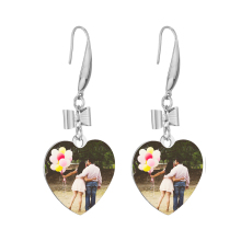 Custom Color Photo Earrings Bowknot Dangle Pendent Stainless Round Shape Earring Korea Cute Earring for Women Gift