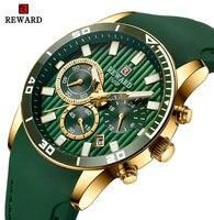 REWARD 탑 브랜드 럭셔리 쿼츠 시계 남성 세 서브 다이얼 자동 날짜 그린 실리콘 스트랩 패션 빈티지 아날로그 시계 방수