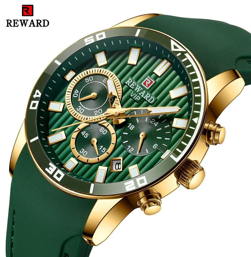 REWARD Top Brand Luxury Quartz Watch Men Three Sub-dial Auto Date Green Silicone Strap Fashion Vintage Analog Clock Waterproof