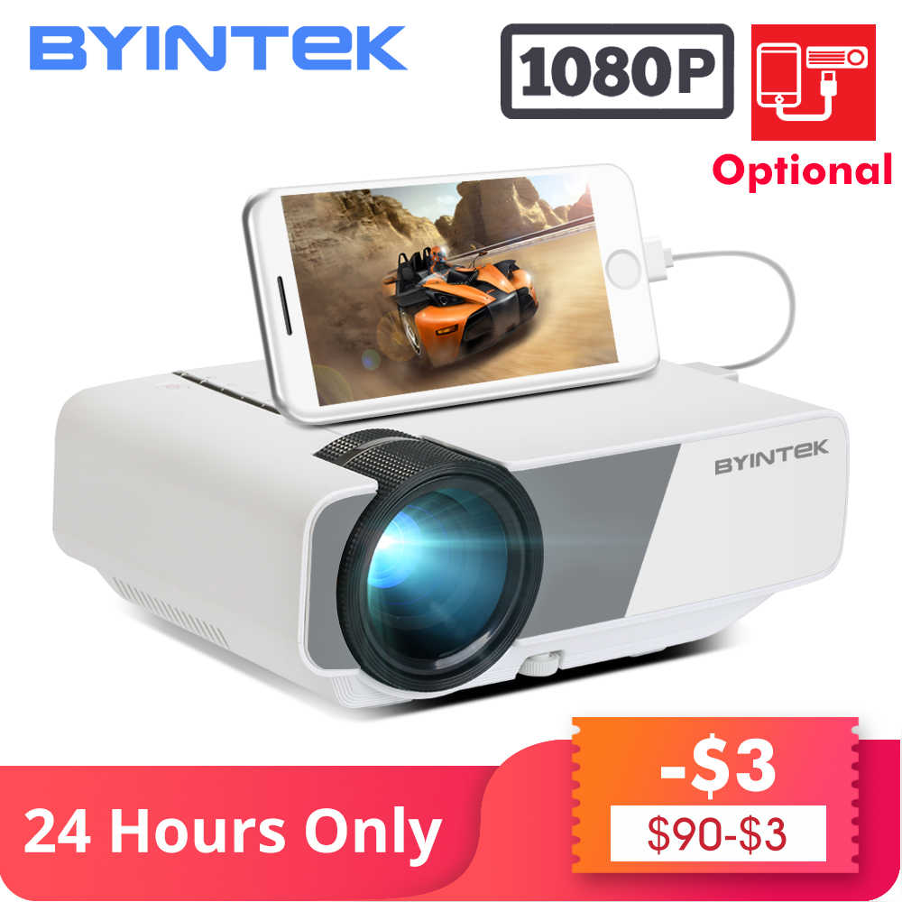 BYINTEK SKY K1/K1plus LED portátil Home Theater HD Mini proyector (pantalla de sincronización con cable opcional para Iphone Ipad tableta del teléfono)