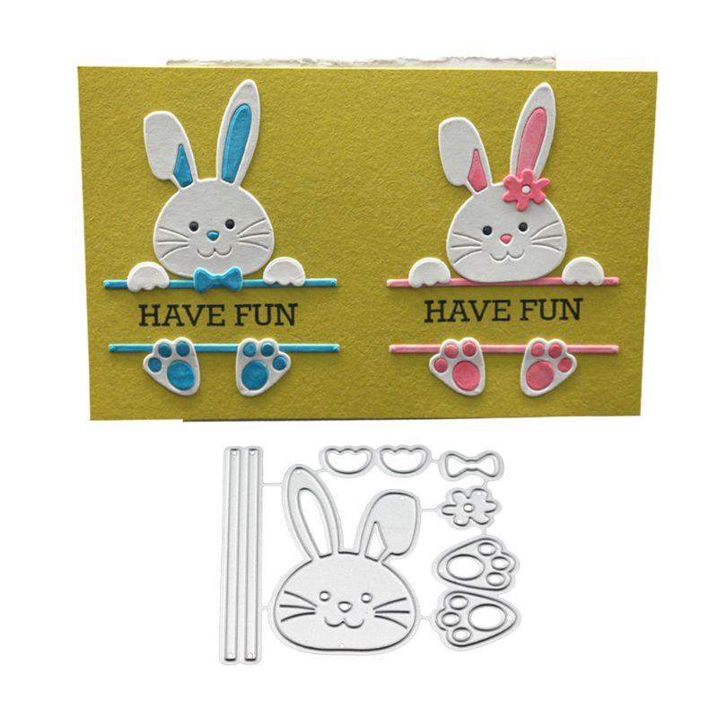 OOTDTY Cute Bow Rabbit Metal Cutting Dies Stencil Scrapbooking DIY Album Stamp Paper Card Embossing Decor Craft