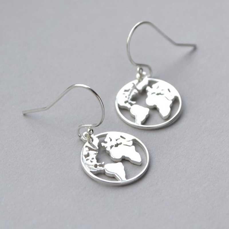 韓国のイヤリングのカップルのイヤリング Brincos スタッドピアス世界地図シンプルな女性ゴールドかわいいイヤリング女性のための卸売