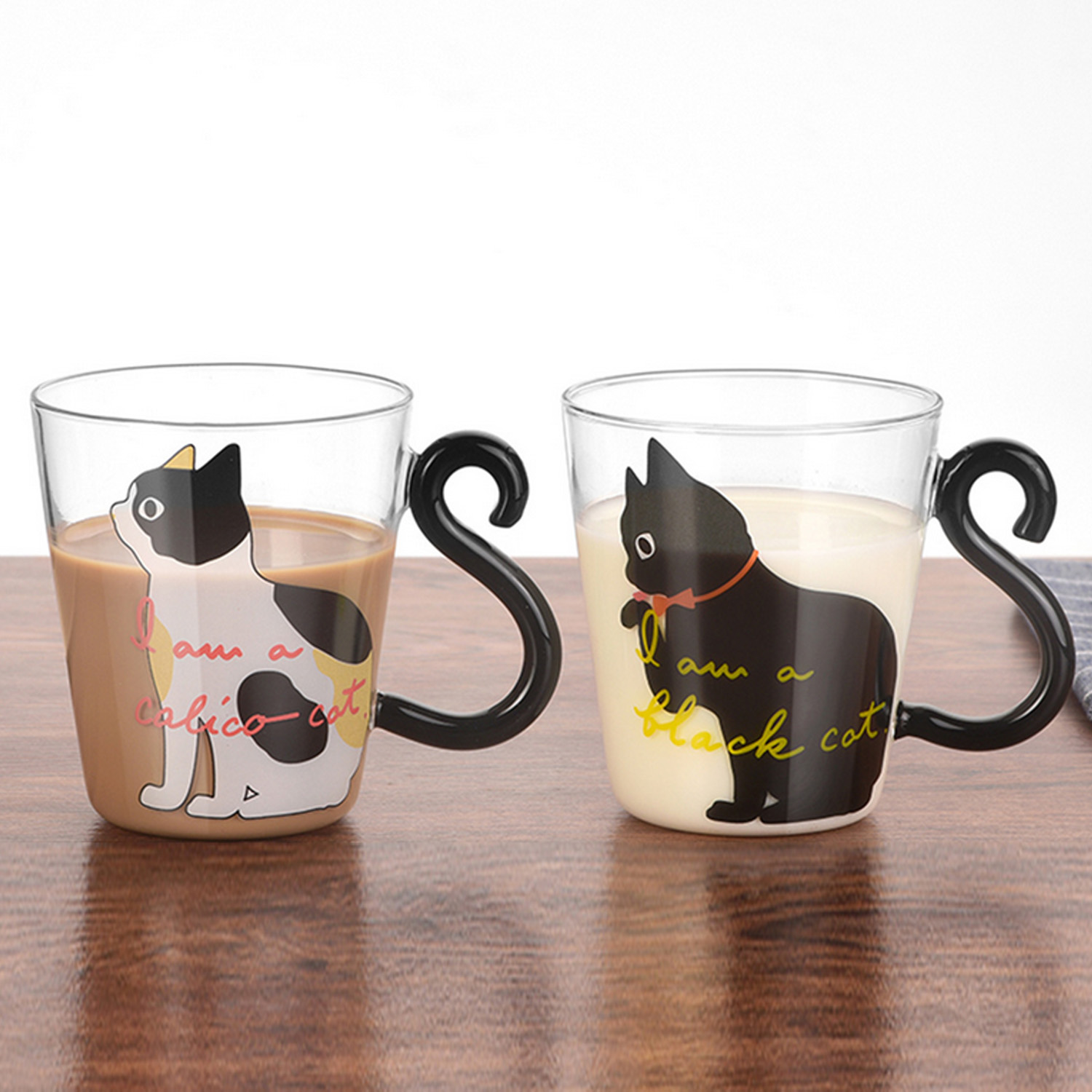 Behogar 250ml 8.45oz Cute <font><b>Cat</b></font> Pattern Mug Glass <font><b>Cups</b></font> with Kitty Tail Shaped Handle for Water Milk Coffee Drink Home Decor image
