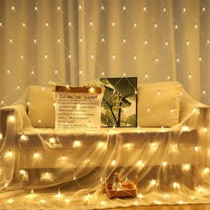 Image 2 - Guirlande lumineuse en maille 2x2M 3x2M 6x4M, rideau de fenêtre en maille, lumière de noël, fête de mariage, lumière de vacances