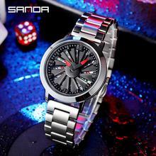 цены Fashion Men Watch Blue Creative Rotation Stainless Steel Relogio Masculino Male Clock Men Wrist Quartz Watch For Men