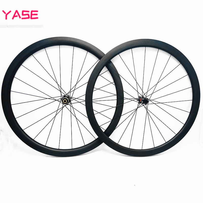 YASE 700c wheelset 25x25mm tubeless tubular asymmetry carbon road disc wheels 100x12 142x12 pilar 1423 bicycle disc brake wheels