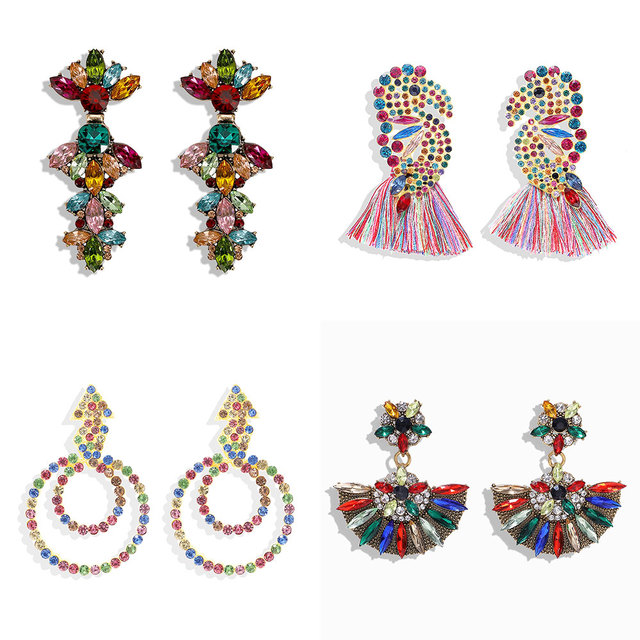 Women's Bohemian Style Colorful Crystal Drop Earrings