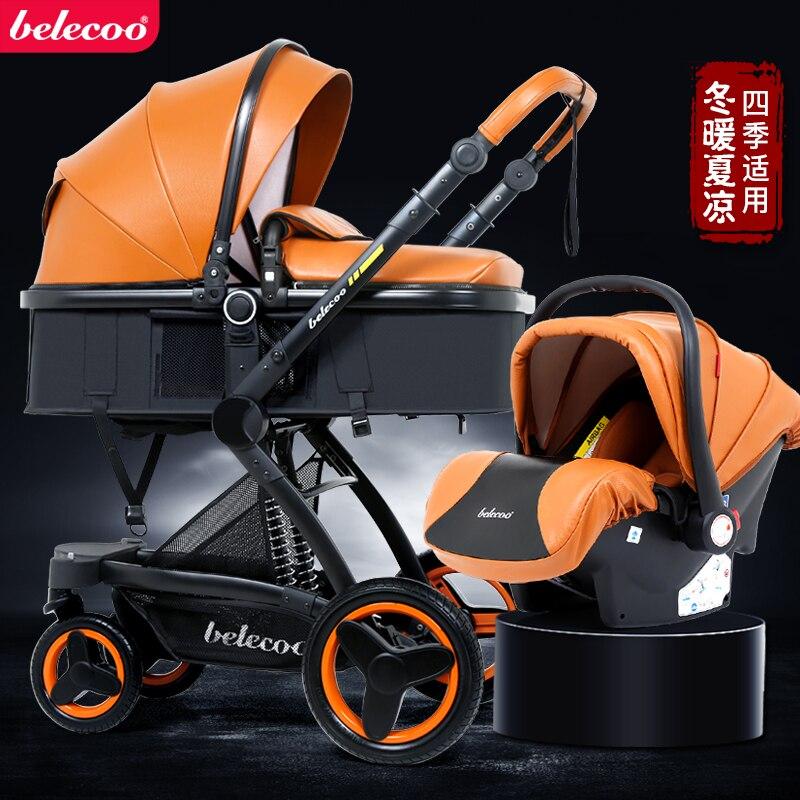 Beleeco carrinho de bebê 3 em 1 carrinho de alta-vista com assento de carro recém-nascido parm amortecedor dobrável dois-waybaby carriage