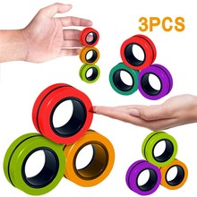 Stress Relief Magnetic Rings Fidget Toys for Anxiety Anti-Stress Roller Fingertip Toys Adult Children Finger Spinner Magic Rings cheap CN(Origin) plastic cement 0-12 Months 13-24 Months 2-4 Years 5-7 Years 8-11 Years 12-15 Years 6 years old 3 years old