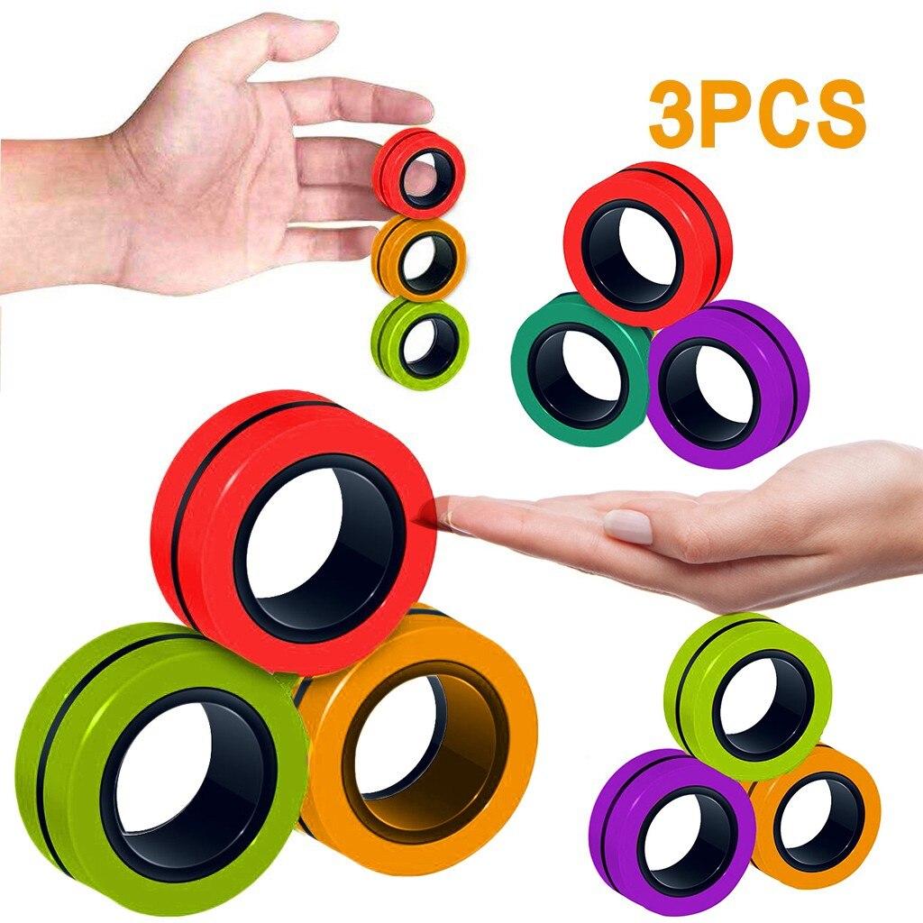 Stress Relief Magnetic Rings Fidget Toys for Anxiety Anti-Stress Roller Fingertip Toys Adult Children Finger Spinner Magic Rings