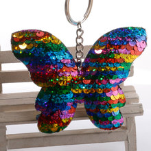 Fashion Lovely Butterfly Keychain Glitter Sequins Key Chain Women Gift Bag Pendant Ring