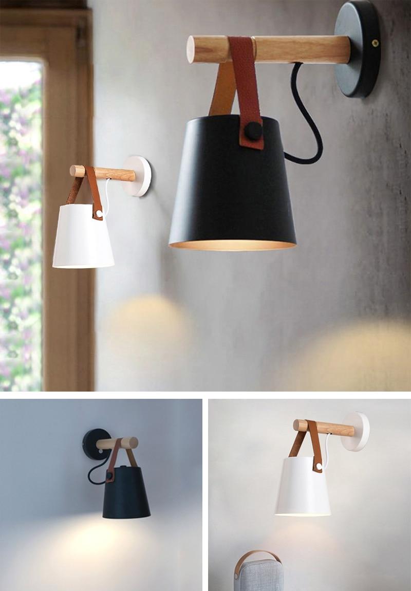 de madeira moderna arandela luz para decoração