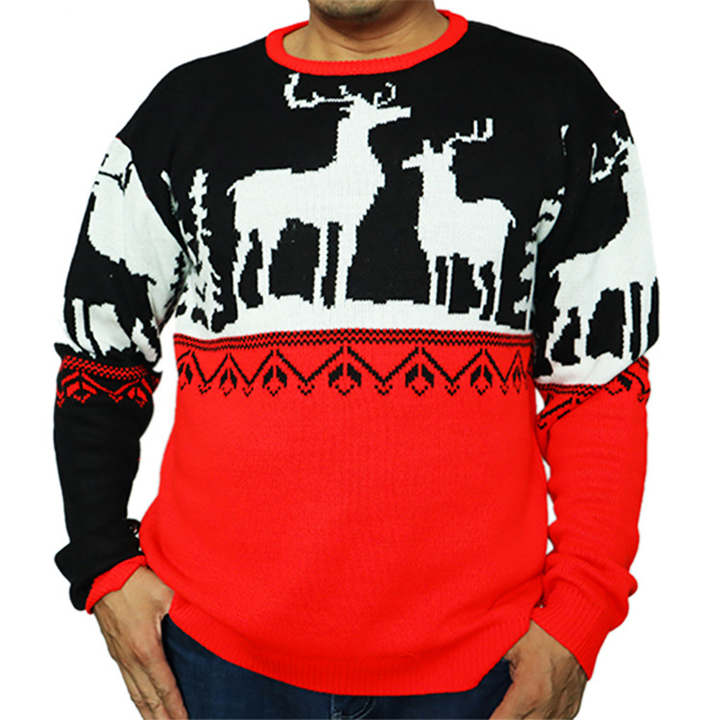 Cute Knitted Reindeer Christmas Sweater For Men Funny Christmas Holiday Knit Pullover Christmas Jumper Plus Size