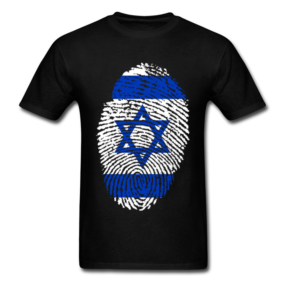one yona Summer <font><b>T</b></font> <font><b>Shirt</b></font> <font><b>Israel</b></font> Flag Fingerprint <font><b>T</b></font>-<font><b>shirt</b></font> Men Tshirt Black Blue Hip Hop Cotton Top Short Sleeve Clothing Geometric image