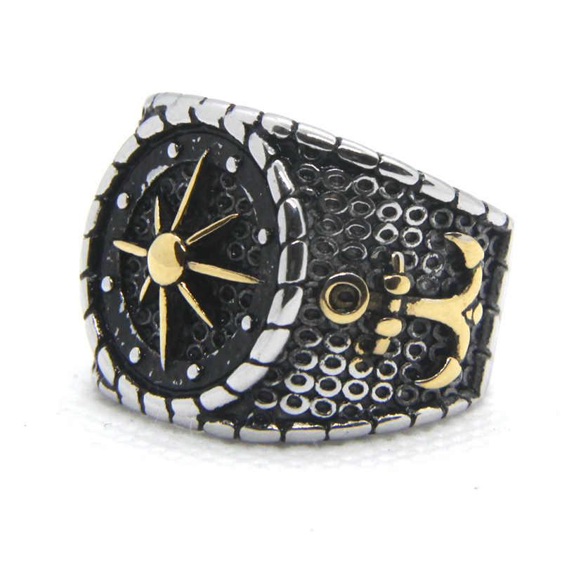2020 أحدث الذهبي مرساة رجل خاتم 316L الفولاذ المقاوم للصدأ رجالي خاتم كول كلاسيكي