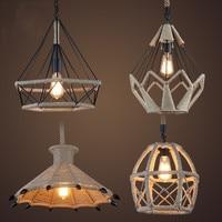 4 Styles Retro Industrial Hemp Rope Pendant Light Diamond Claw Shape High Quality Iron Hanging Lamp Lights for Cafe Restaurant