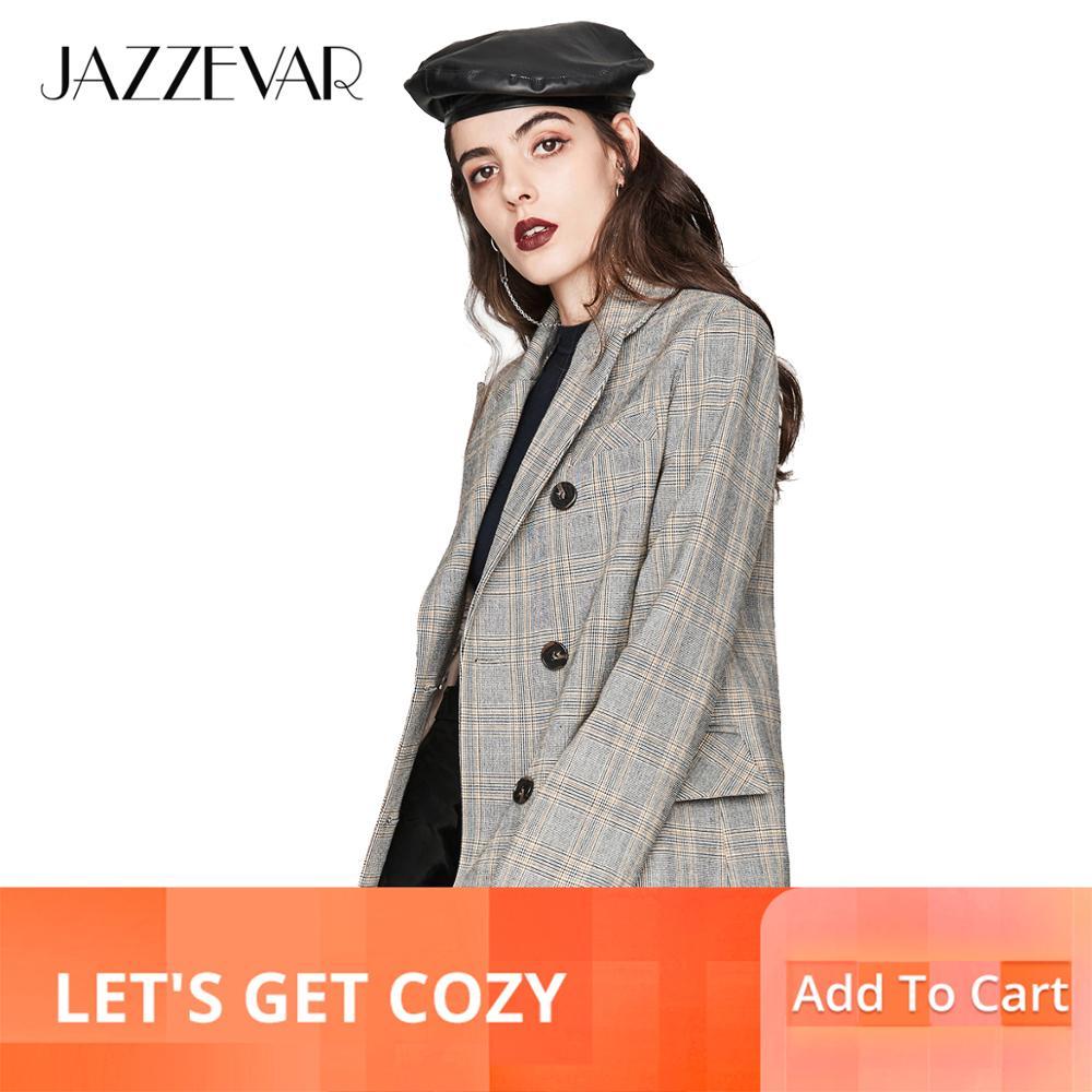 Kadın Giyim'ten Basic Ceketler'de JAZZEVAR 2019 Yeni Sonbahar Moda Kadın Vintage ekose Kruvaze Ceket Kısa Takım Elbise Giyim Yüksek Kaliteli YA7013'da  Grup 1