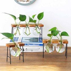 Twórczy kutego żelaza wazon hydroponiczny mały świeży salon dekoracji kompozycja kwiatowa szklana przezroczysta mała kolba