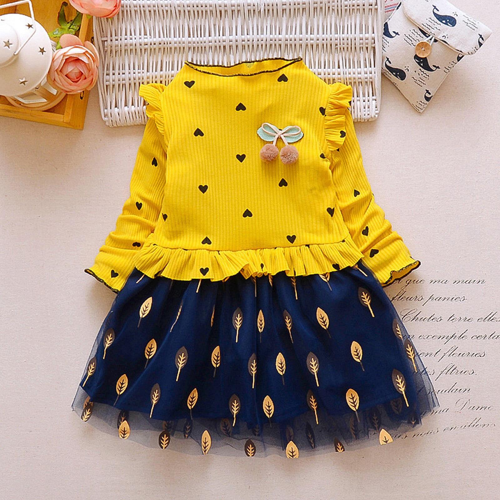 40# Toddler Kids Dresses Baby Girls' Long-sleeved Leaf Net Yarn Stitching Dress Love Dress Kids Clothes Girls תחפושות לתינוקות 2