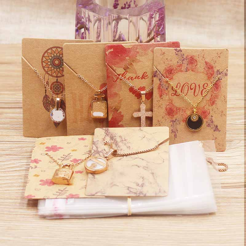 Zerong 25desings Jewelry Necklace Pendant Package Card DIY HANDMADE/Thankyou/flowers Style Charms Tag Label Card 50pcs+50bag/lot