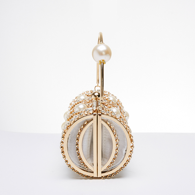 Hollow Out Diamonds Small Barrel Shaped Metal Cage Evening Clutch 4