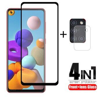Перейти на Алиэкспресс и купить 4-в-1 для Samsung Galaxy A21S стекло для Samsung A21S закаленное стекло для Samsung M21 M31 A51 A71 A50 A11 A31 A41 A21S стекло объектива