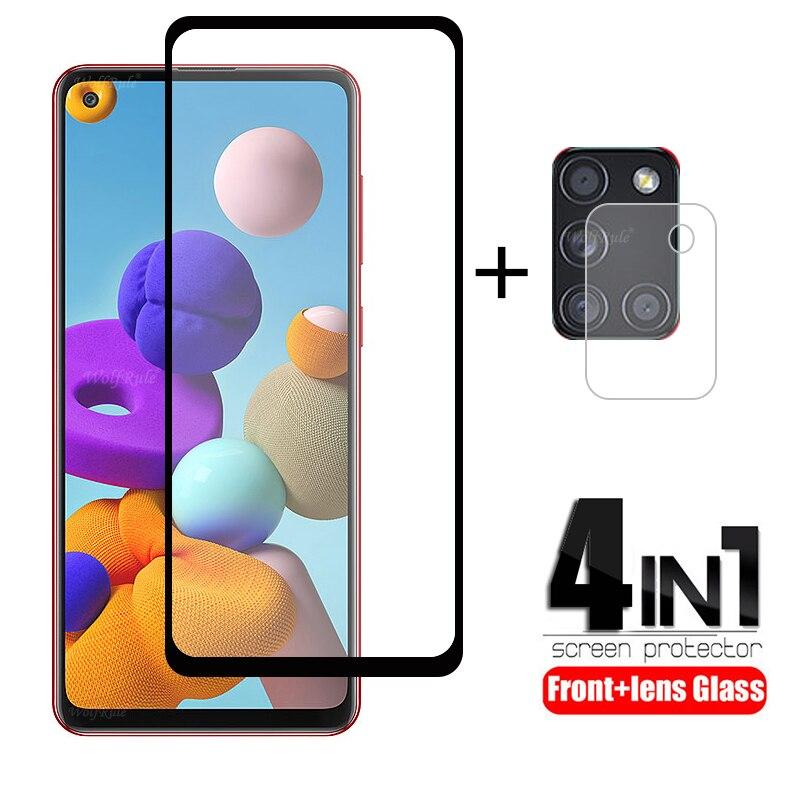 4 в 1 для Samsung Galaxy A21S стекло для Samsung A21S закаленное стекло для Samsung M21 M31 A51 A71 A50 A11 A31 A41 A21S стекло объектива Защитные стёкла и плёнки      АлиЭкспресс