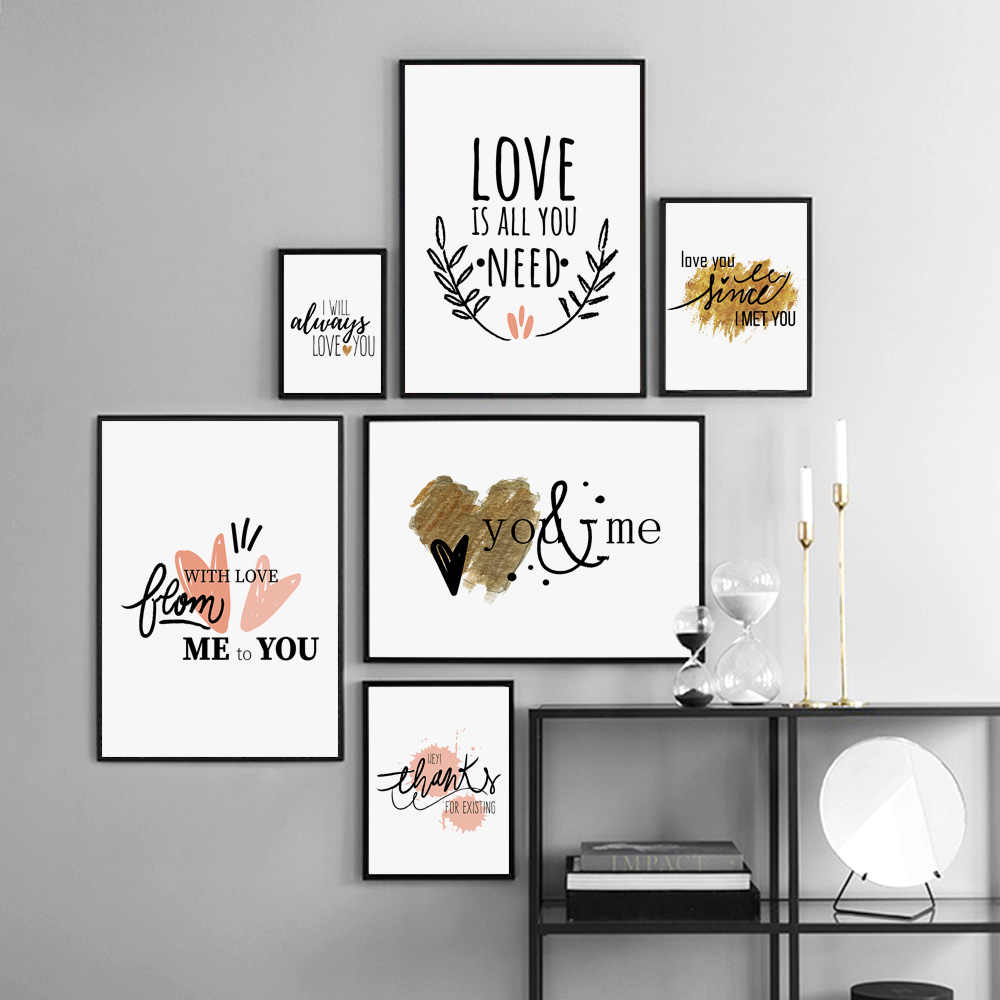 Watercolor Love Your Heart Phrases Nursery Wall Art Canvas Painting Nordic Posters And Prints Wall Pictures Baby Kids Room Decor