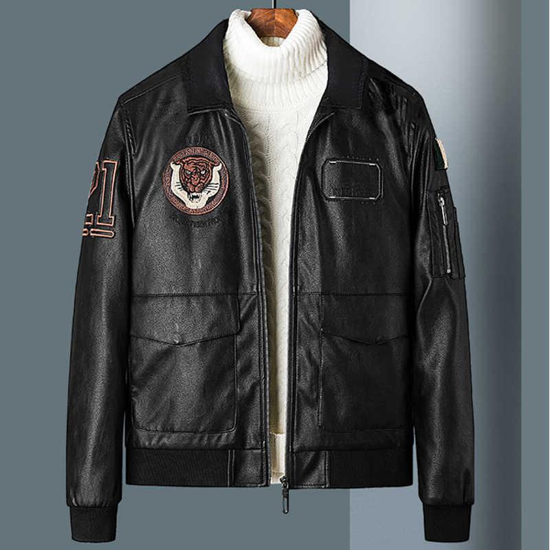 Naam Merk Biker Mens Pu Jas Jassen Plus Size 5XL Avirex Leather Suede Jacket Mannen Jassen 3D Tijger Hoofd Lente jassen Mannelijke A604