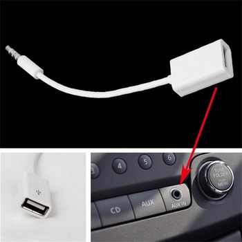 3.5mm Male AUX Audio Plug Jack To USB 2.0 Female Cable Cord Professional Car MP3 Audio Converter Line 15cm Mayitr image