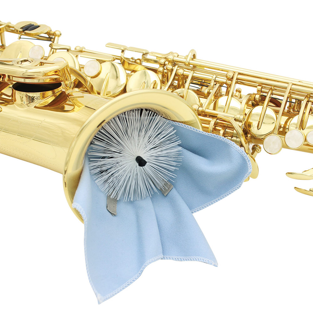 Alto Tenor Sax Saxophone Neck Pull Through Microfiber Cloth Swab With Brush Blue