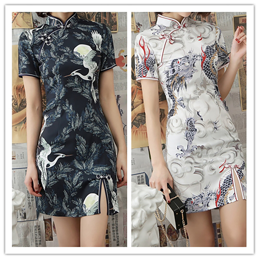 <font><b>Chinese</b></font> <font><b>Dress</b></font> for Women Elegant Dragon Crane 2020 News Qipao Vestidos Party Wedding <font><b>Dresses</b></font> Cheongsam Split Aodai Style <font><b>Sexy</b></font> image