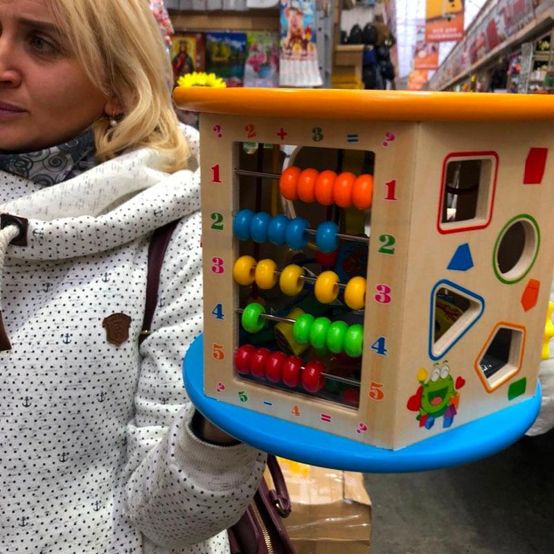 Montessori pour enfant en bois 8 en 1 multi-usages activité Cube Center jouets éducatifs perle labyrinthe début d'apprentissage jouet pour enfants cadeaux - 4