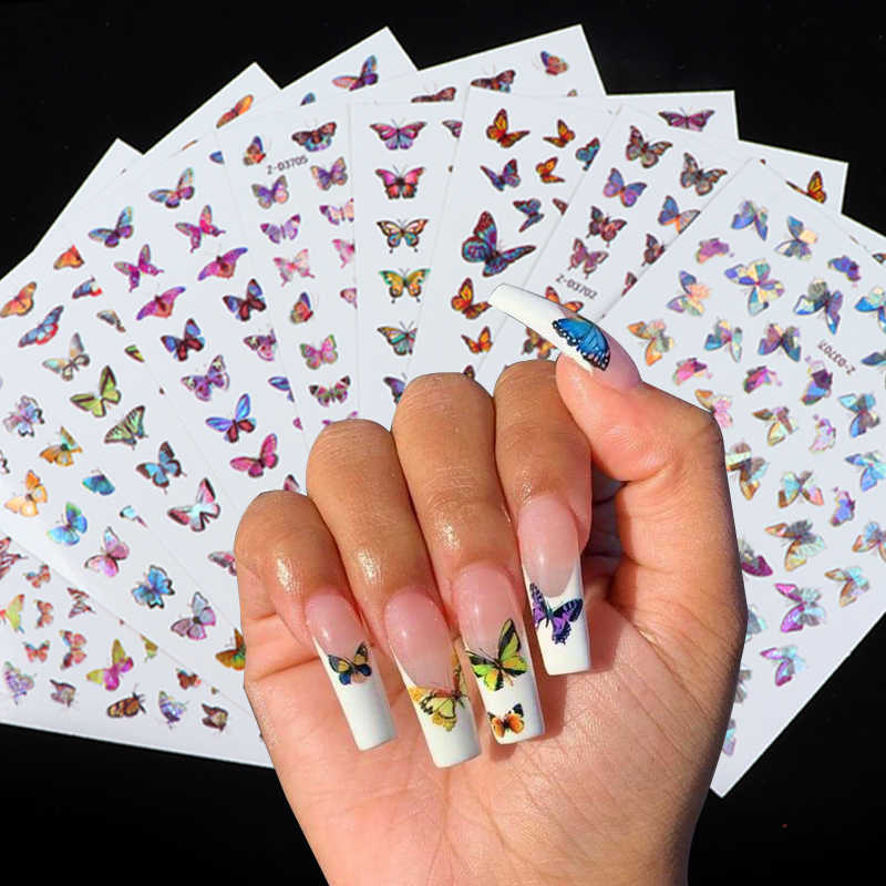 Holographic Butterfly Designs Sticker Nail Decal  DIY Slider for Manicure Nail Art Watermark Manicure Decor