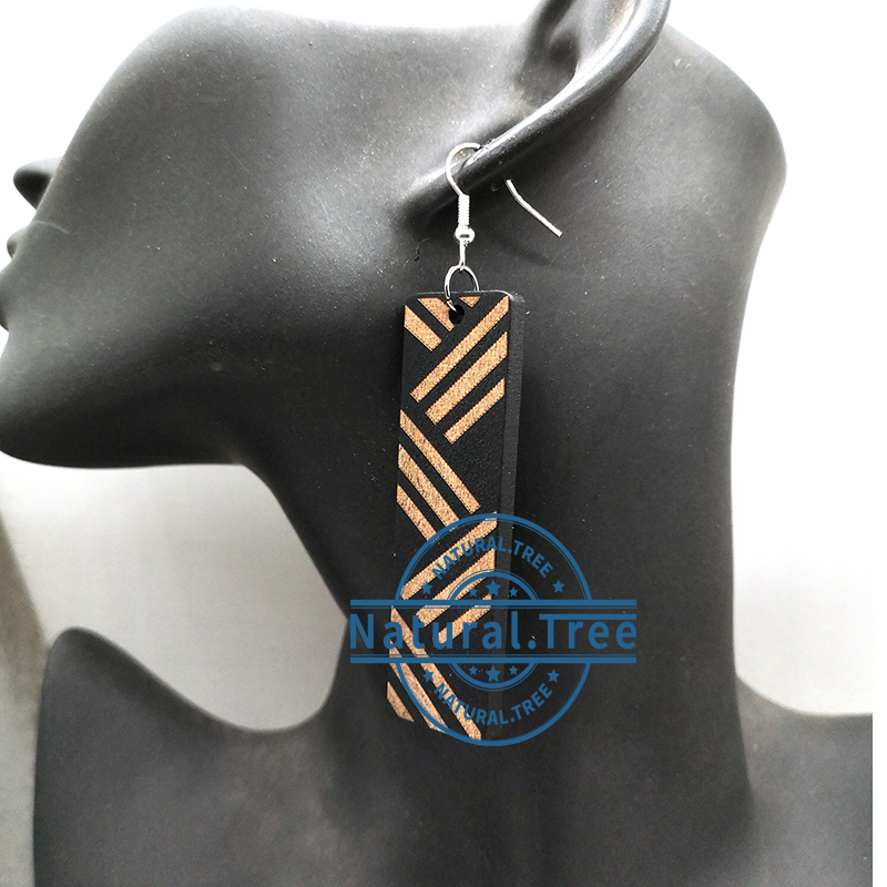 Free Shipping!!Rectangle engraved wooden earrings