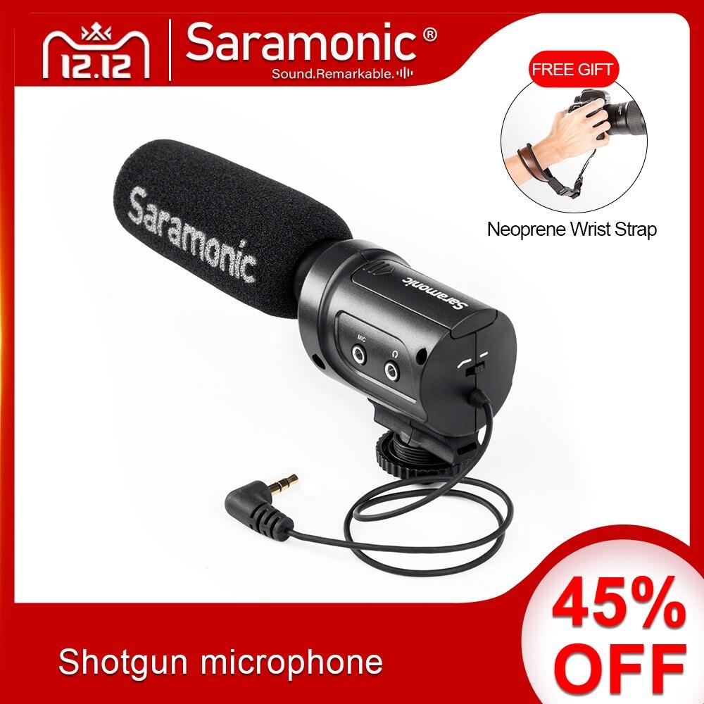 Saramonic SR-M3 мини направленный конденсаторный микрофон со встроенным ударным креплением, переключатели для DSLR камер и видеокамер