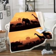 3D Digital PrintThrowBlanket Africa Tropical Forest Grassland Winter Coral Fleece Blanket for Kids Boys Jungle AnimalSeries
