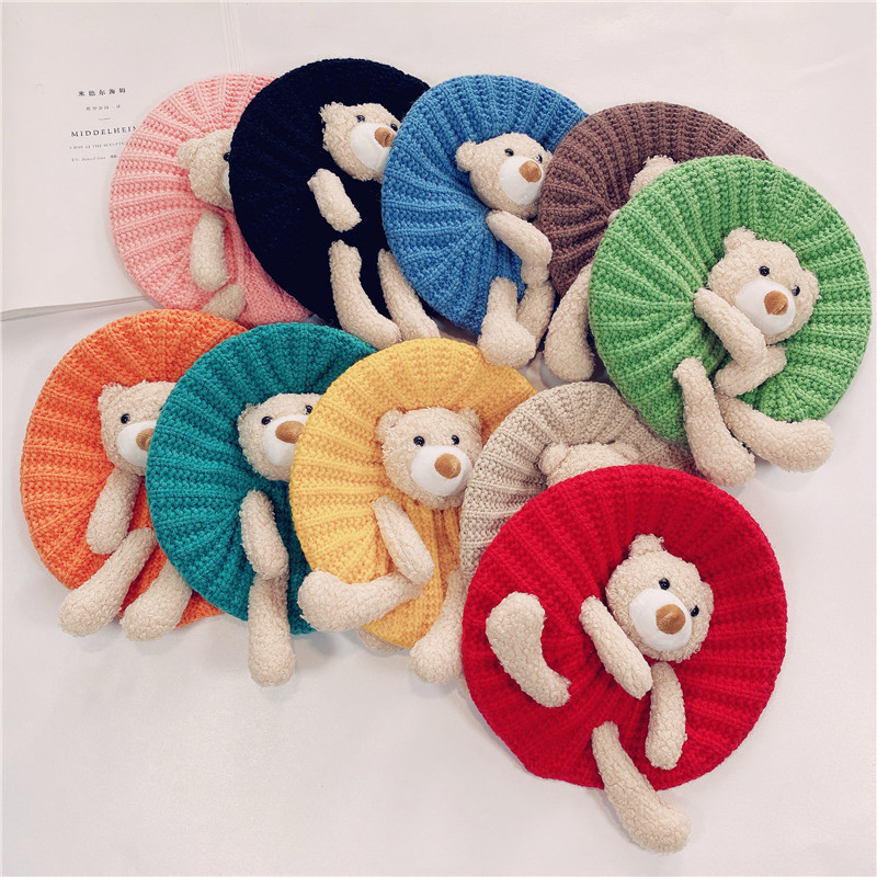4.55US $  Children's Knitted Hat Cute Bear for Autumn and Winter Boys and Girls Warm Thick Sleeve Ca...