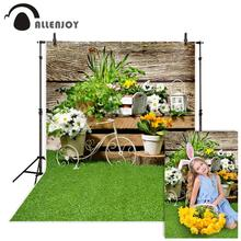 Allenjoy photography background Easter flower spring garden wood grass nature backdrop photocall photophone photo shoot prop