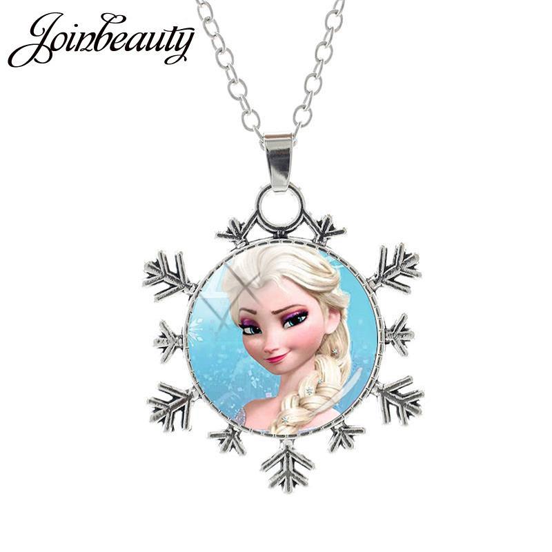 JOINBEAUTY Принцесса Эльза Анна снег кулон в виде королевы Ожерелье Дамы Снежинка Длинная цепочка Ювелирные изделия стекло кабошон для девочек SQ03