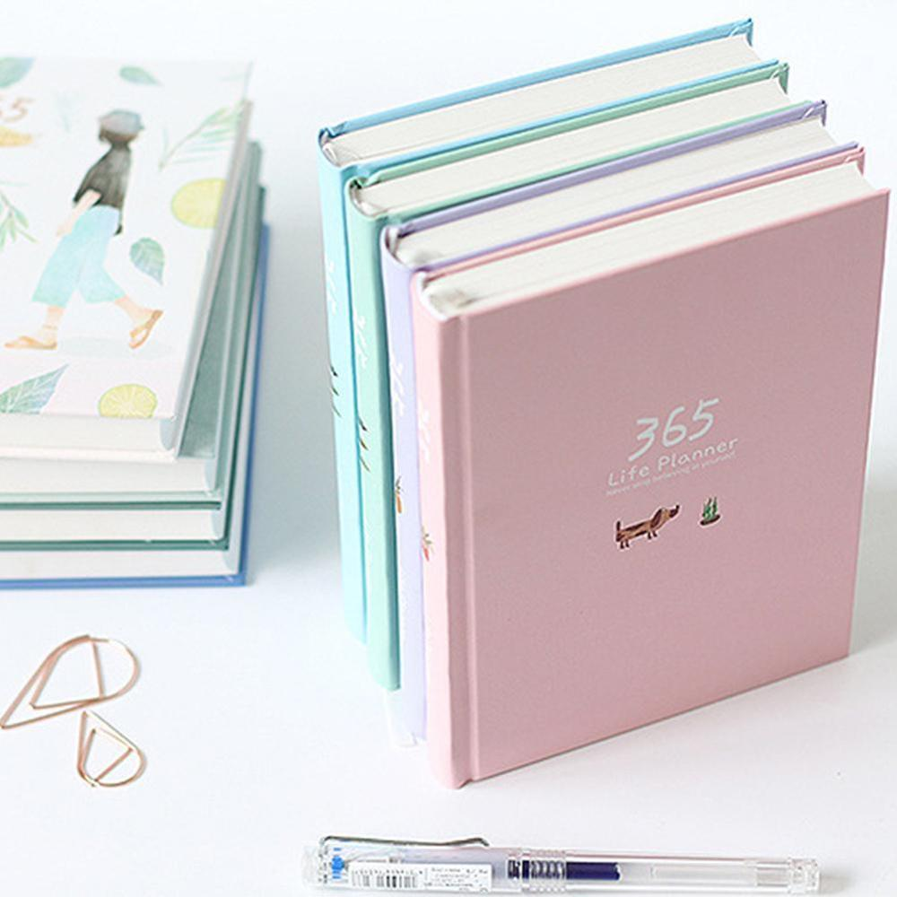 1 Pc 365 Planner NoteBook Yearly Agenda Colorful Inner Page Illustration Daily Plan Bullet Journal Record Life Stationery Gifts