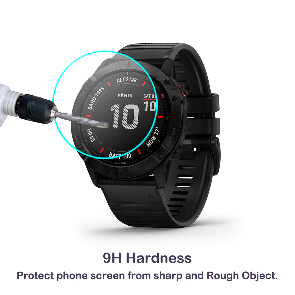 2Pack For Garmin Fenix 6 6s 6x Pro Sapphire Solar GPS Watch Screen Protective Film 2.5D Clear Tempered Glass Screen Protector