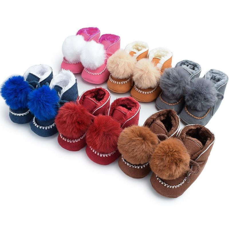 Thicken Baby Boots  Lace-Up Lovely Pompon Non-slip Snow Prewalker Soft Coral Fleece Toddler Solid Color Winter Warm Shoes