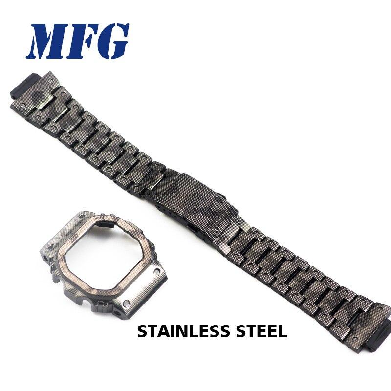 Bracelet de montre en métal Bracelet de lunette DW5600 GWM5610 GW5000 accessoire de Bracelet de cadre de Bracelet de montre d'acier inoxydable de Camouflage avec l'outil de réparation