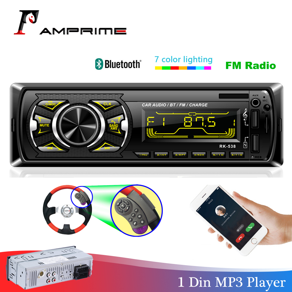 AMPrime Autoradio 1din Car Radio Bluetooth 1 din car stereo Player Phone AUX MP3 FM/USB/Radio Remote control For phone Car Audio image