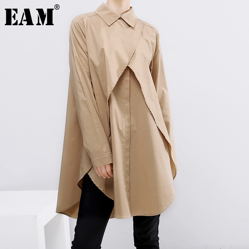 [EAM] Women Khaki Split Joint Asymmetrical Blouse New Lapel Long Sleeve Loose Fit Shirt Fashion Tide Spring Autumn 2020 1B722