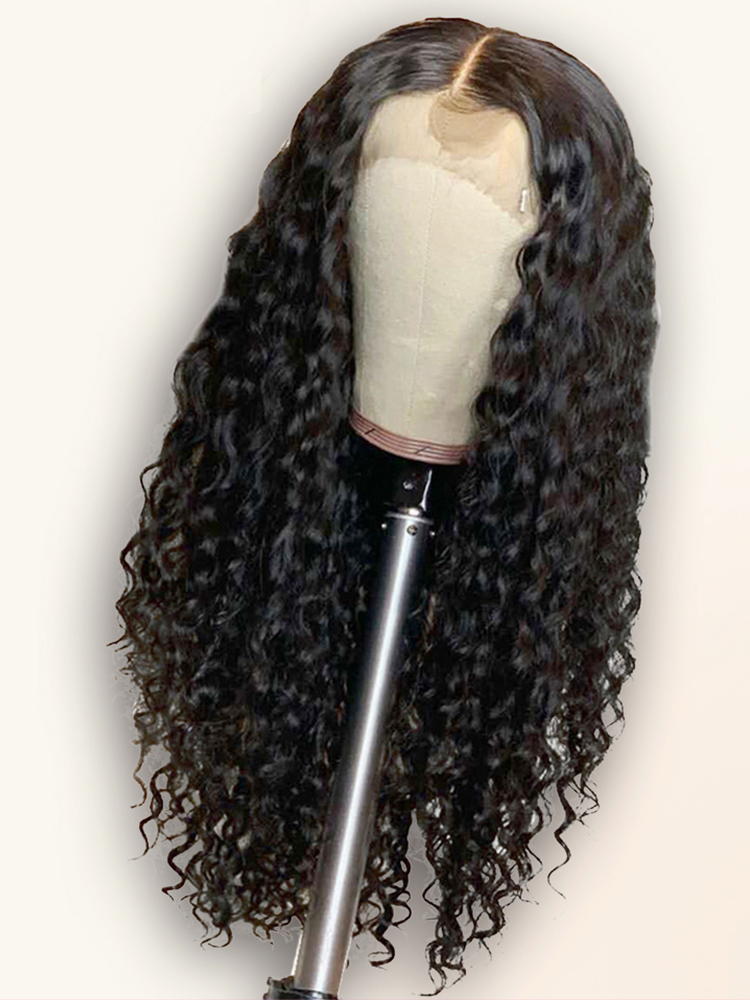 Yyong Human-Hair-Wigs Lace-Front Deep-Wave Indian 28-30-32inch 13x4 with Remy for Women